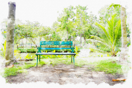 landscape painting: Watercolor painting park.