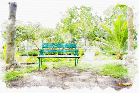 garden design: Watercolor painting park.
