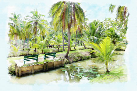 art painting: Watercolor painting park.