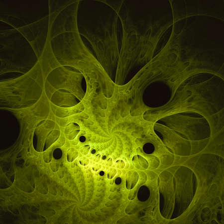 fractals: Green fractals pattern on black. Stock Photo