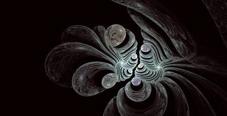 visceral: Fractals pattern on black.