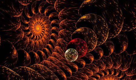 fractals: Orange fractals pattern on black.