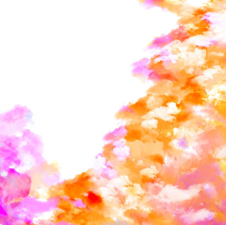 cataclysm: Color clouds on white.