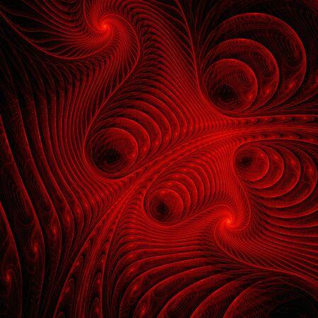 dark red: Red fractals pattern on black. Stock Photo