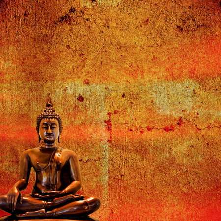 paper sculpture: Buddha statue on a grunge background. Stock Photo