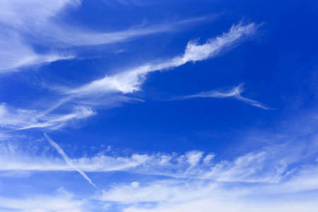 nimbi: Blue sky and white clouds natural background. Stock Photo