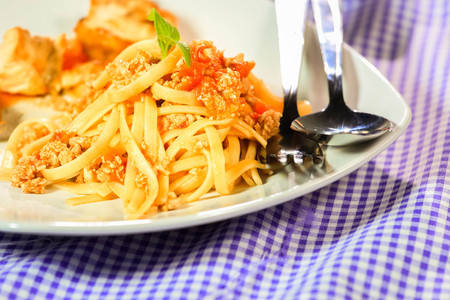 sauce dish: Italian pasta with chicken and fried pork.