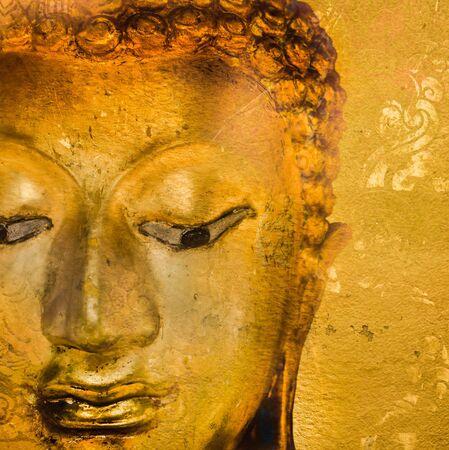 buddha head: Buddha statue on grunge background. Stock Photo
