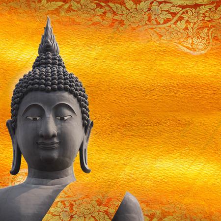 bouddha: Noir statue de Bouddha sur le patron d'or Thaïlande.