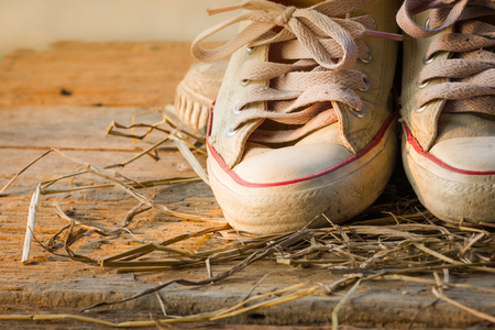 shoestring: Old sneakers.