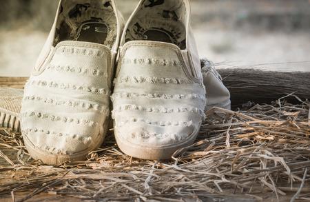 tearing down: Old sneakers in vintage stye. Stock Photo