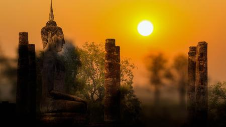 buddha statue: Sukhothai old historic town and old Buddha statue on sunset.