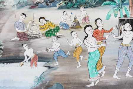 tradition: Painting tradition of playing in the the Songkran Festival. Stock Photo