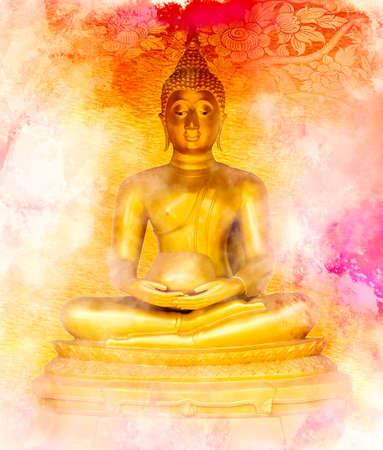 paper sculpture: Buddha statue on grunge background. Stock Photo