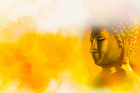 buddha face: Buddha gold statue on golden background patterns Thailand.