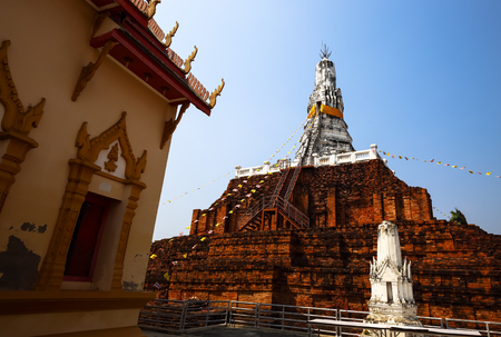 The Dvaravati period pagoda in Thailand. Stock Photo