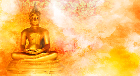 Buddha statue on grunge background. 版權商用圖片