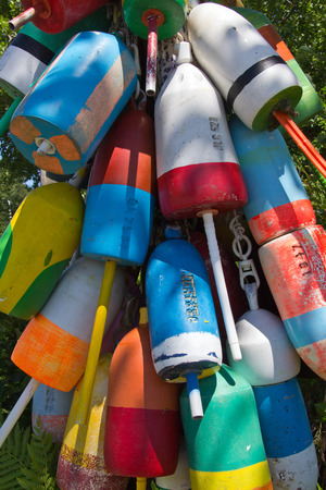 buoys: Owls Head, lobster buoys Stock Photo