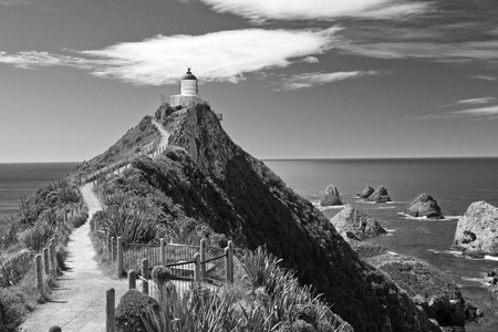 and hiking path: New Zealand, Catlins Coast, Nugget Point, Lighthouse