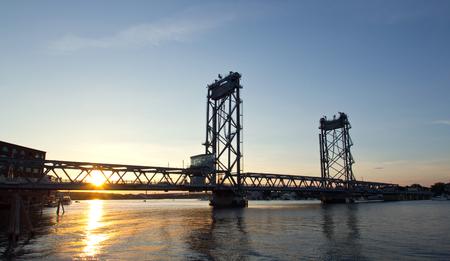 USA, Portsmouth, New Hampshire Bridge, Sunset