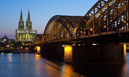 Germany, Cologne, Cathedral and Bridge Stock Photo