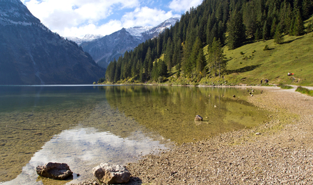 Austria, Lake Vilsalpsee near Tannheim Stock Photo