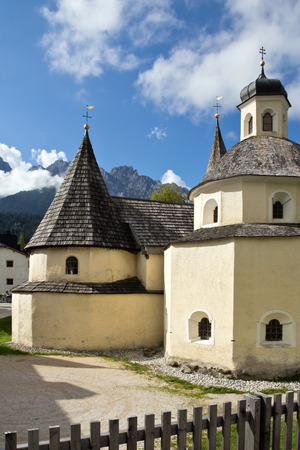 Dolomites, chapel Santo Sepolcro in San Candido, South Tyrol