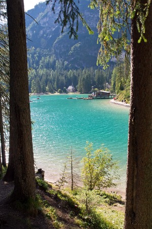 Lake Braies, called Braies Lake, with chapel, Dolomite Alps, South Tyrol Stok Fotoğraf