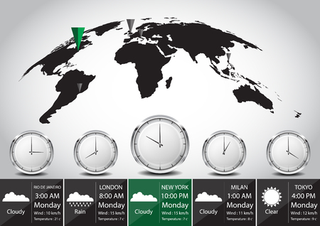 time zone: World map and time zone vector illustration Illustration