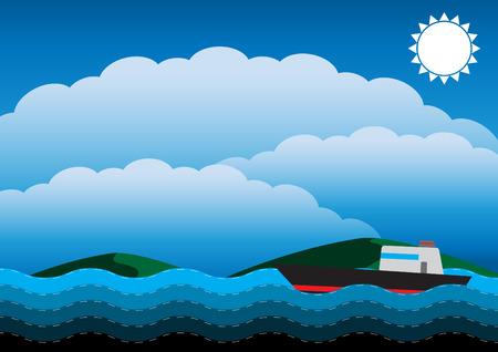 Boat in ocean vector illustration