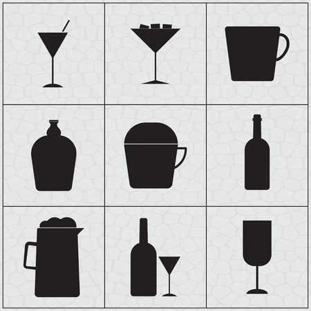 whie wine: Set of drink icon Silhouettes