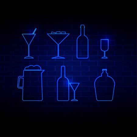margerita: Drink icon neon Style vector illustration
