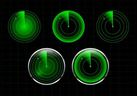 blip: Set of green radar vector illustration Illustration
