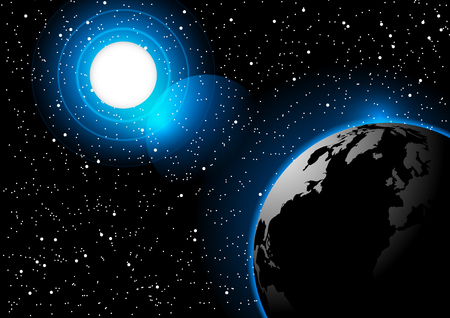 Space background sun and earth vector illustration Illustration