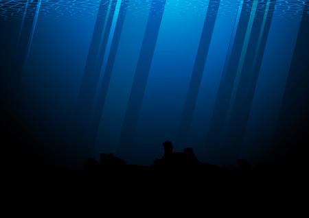 deep: Deep of pacific ocean vector illustration