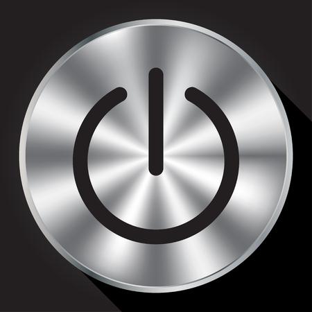 Power sign on metallic button