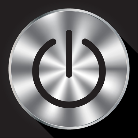 Power sign on metallic button
