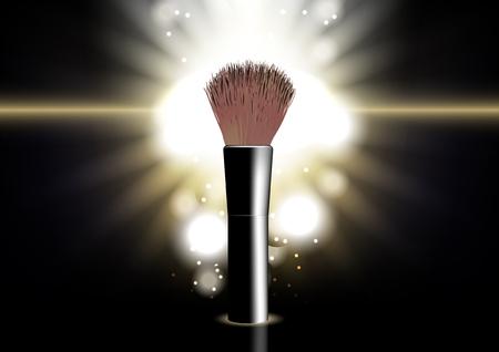 Cosmetic blusher brush on glowing light background