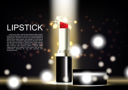 Lipstick poster with glittering light background