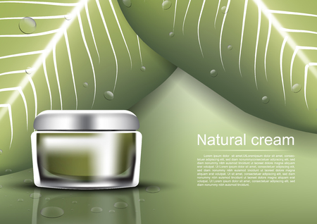 Anti-aging cream with wild green leaves background vector cosmetic ads template Çizim
