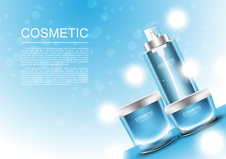 Cosmetic products for oily skin with blue background vector illustration.