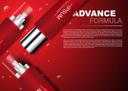 Cosmetic ads Serums on red background