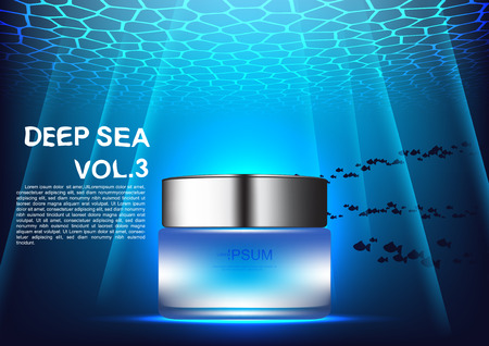 Vector cosmetic ads night cream with template on blue underwater background