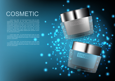 Cosmetic products and template on blue shimmering lights background Vector cosmetic ads