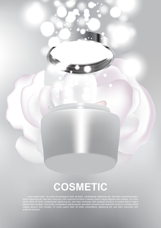 Opened anti-aging cream and shining lights with withe rose on graybackground vector cosmetic ads