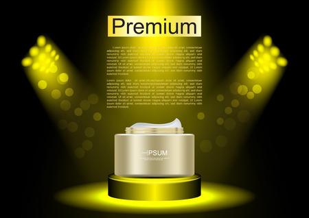 Night cream on gold spotlight