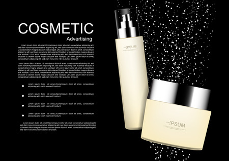 Cosmetic products with small light bubbles and template on black background Illustration