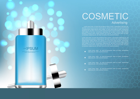 Vector cosmetic ads blue serum with bokeh on light blue background