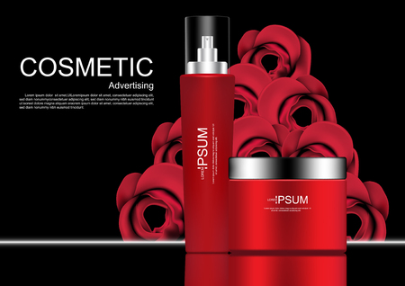 Cosmetic products with roses on dark background