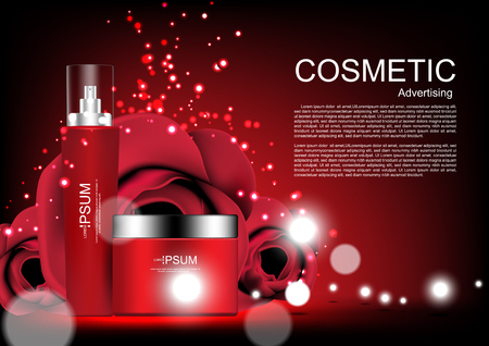 Serum and cream with shining lights and glitter on dark background vector cosmetic ads